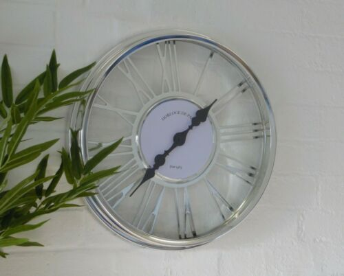 Large Silver Cut Out Chrome Glass Roman Numeral Skeleton Round Wall Clock