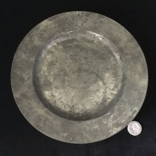"Antique Continental PEWTER Plate 9 1/4""                                #987"