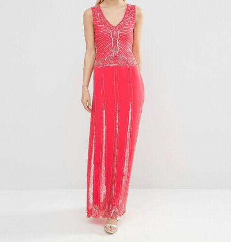 Womens Ladies New Long Maxi Coral Beaded Embellished Party Occasion Dress 6-16