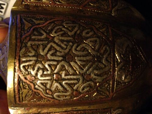 Damascus silver, brass and copper exquisite vase