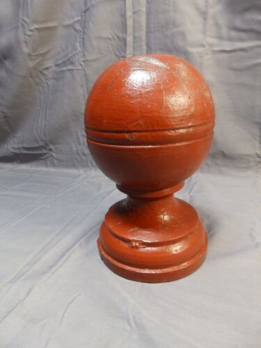 Antique Wood Red Newel Post Finial Gingerbread Cottage Chic Vtg Garden 1607-16