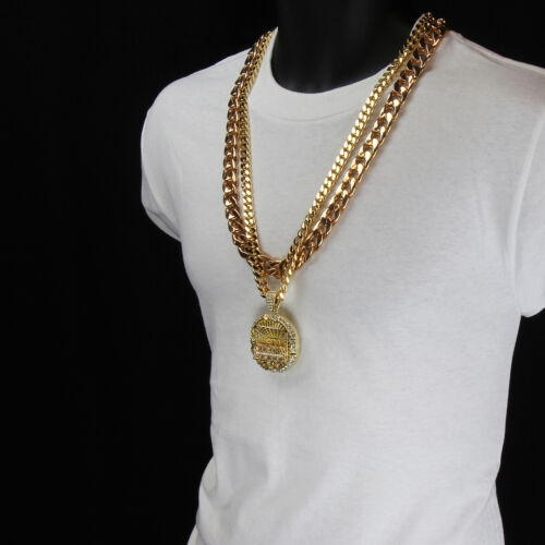 """Men Iced Out Hip Hop 14k Gold Plated Last Supper CZ Pendant Two 30"""" Cuban Chain"""