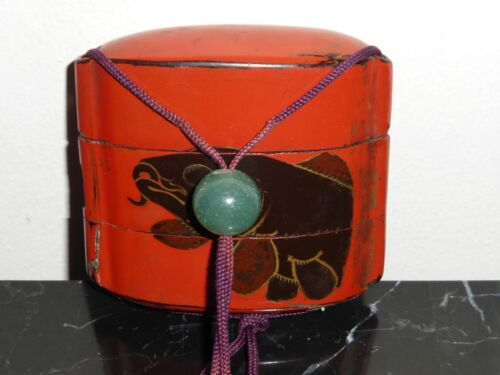 JAPANESE EDO PERIOD RED LACQUER TWO CASE INRO