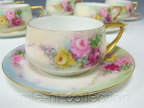 ROSENTHAL DONATELLO HAND PAINTED ROSES TEA CUP & SAUCER (6 AVAILABLE)