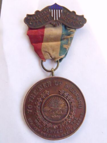 RARE ORIGINAL MEDFORD MASSACHUSETTS SPANISH AMERICAN WAR SERVICE MEDALOriginal Period Items - 10952