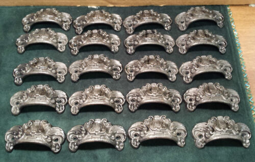 20 MATCHING DRAWER,BIN PULLS EMBOSSED CAST IRON ORNATE VICTORIAN STYLE