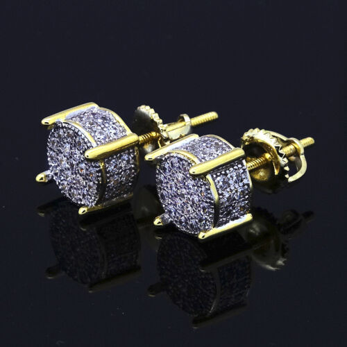 Mens Gold Plated Two Tone ICED OUT Cz Micropave Earring Stud Round Hip Hop