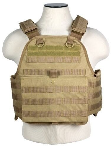 MOLLE PALS CHEST RIG BODY ARMOR * PLATE CARRIER ONLY * TACTICAL VEST TAN BROWNReproductions - 156470