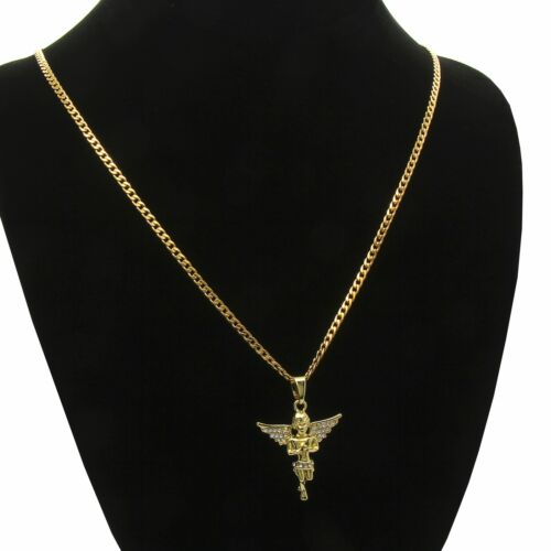 """Men & Women Angel Cz Pendant With Gold Plated stainless steel Cuban Necklace 24"""""""