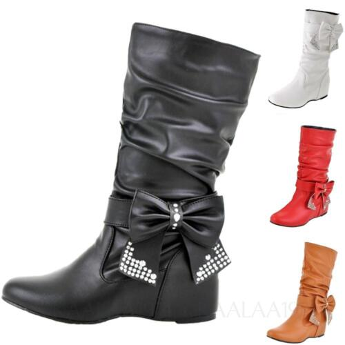 Womens Ankle Boots Leather internal Wedges heel Winter Shoes bow Size 0-14