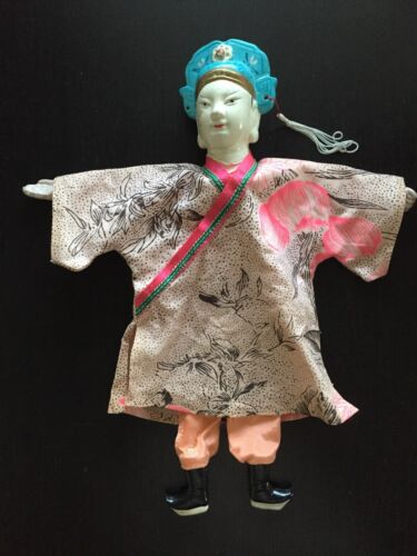 Fine Old 19th / 20th C Chinese Pottery Painted Opera Puppet Cloth Robe Art NR