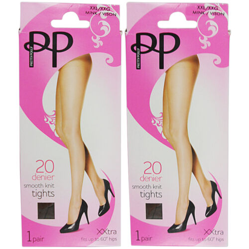 NEW WOMENS LADIES PLUS SIZE XX/L TIGHTS PRETTY POLLY 2 PAIR PACK SMOOTH KNIT