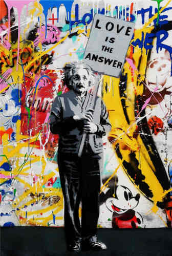 Mr Brainwash Oil Painting on Canvas Urban art decor Love is The Answer 28x40""