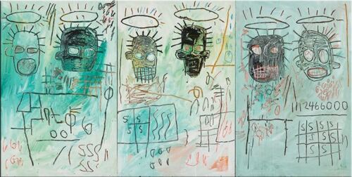 """Jean Michel Basquiat Oil Painting on Canvas wall decor 16x32"""" Expressionism art"""