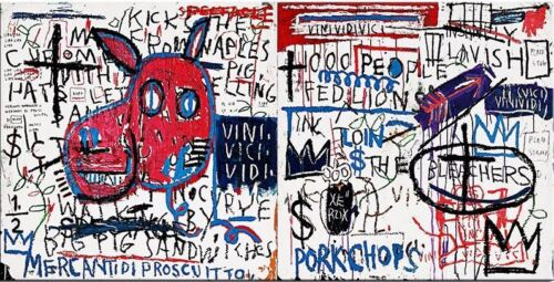 """Jean Michel Basquiat Oil Painting on Canvas """"Pork"""" 16x32"""" Expressionism"""
