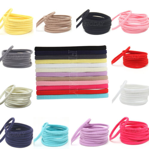 10 Solid Nylon Elastic Headband Baby Girls Women Child Kids Hairband Accessories
