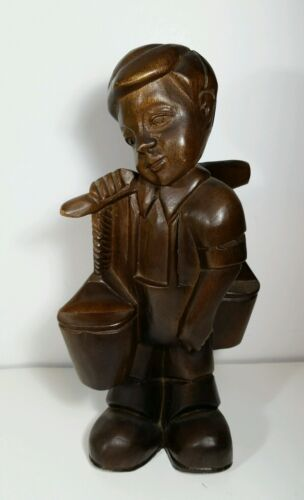 Hand Carved Wooden Figurine Young Boy Working Carrying Buckets 12""