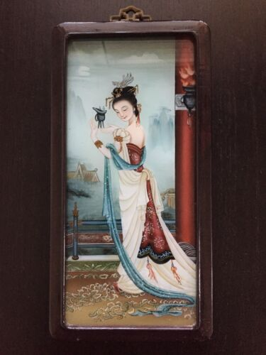 Fine Old Antique Chinese Reverse Painted Glass Beautiful Robed Lady Maiden Peony