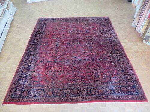 11'10 X 14'3 Hand Knotted Antique Persian Sarouk Oriental Rug G3428