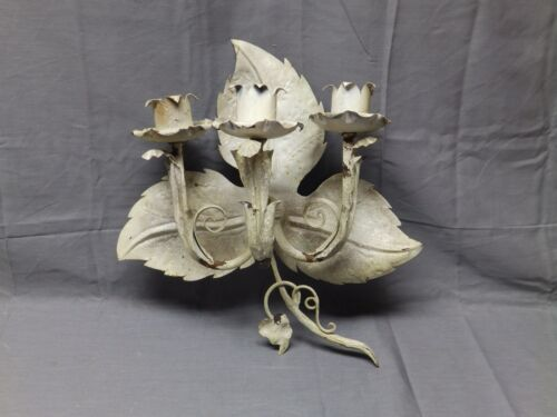 Vtg Tin Tole Leafy Triple Candle Sconce Old Shabby Cottage Chic Fixture 2074-16