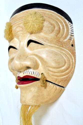 Wooden! Japanese Traditional Noh Mask OKINA Demon Kagura Bugaku Kabuki Samurai