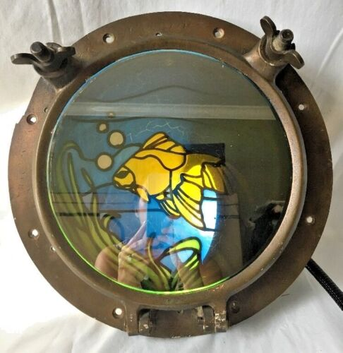 Vintage Antique Ship Porthole Window w Stained Glass Fish Mirror Brass WC 10