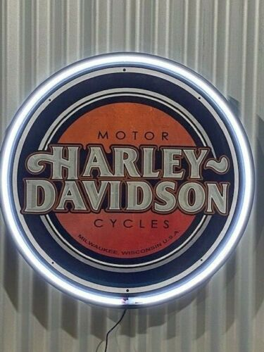 HARLEY DAVIDSON MOTORCYCLES 800MM DIAMETER  NEON SIGN PERFECT HOT ROD MAN CAVE