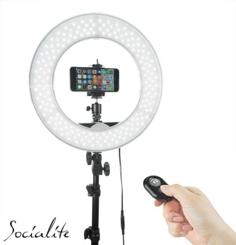 """12"""" SOCIALITE LED Video Ring Light Kit Incl Stand, iPhone/DSLR Mount, Remote"""
