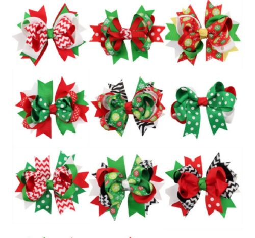 9 Pcs Girl Christmas Holiday Gift Snowflake Ribbon Hair Bows Clip Girl Hairpin