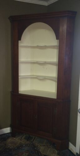 Eldred Wheeler Two Piece Solid Cherry Corner Cupboard Cabinet 18th Century Style