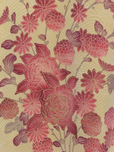 Vintage Woman's Kimono with Flowers and Gold Leaf - Cream with Burgundy