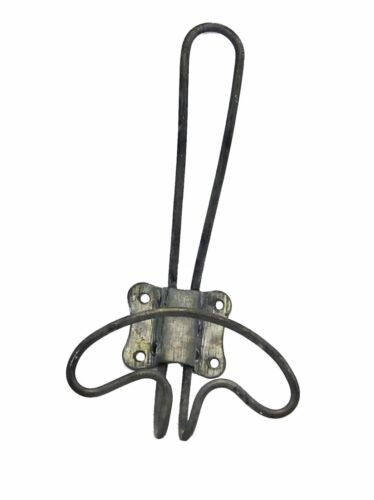 """LARGE Zinc Vintage Coat Hat Towel WIRE WALL HOOK Rustic antique- 9 1/4"""" Tall!"""