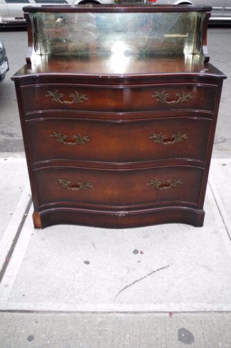Antique Mahogany Wood Dresser w/ Mirror Chest by Winslow & Freen