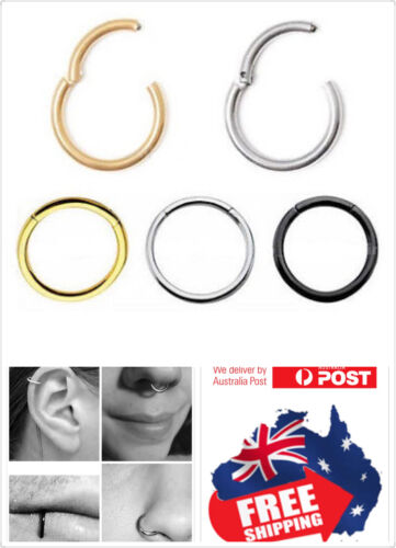 Surgical Steel Hinged Segment Clicker Hoop Ring Lip Ear Nose Body Piercing 1pc <br/> Easy open and close by hand, No tools required,  10% 3+