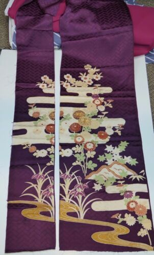Plum Floral w/ Gold Kimono Silk Remnant Lot -Great for sewing, quilting, crafts!