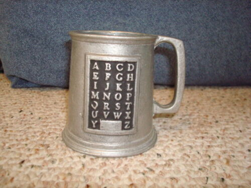 Pewter ABC Small Childrens Cup Mug Vintage RWP