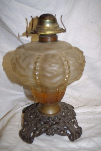 ANTIQUE  P & A PLUME & ATWOOD OIL LAMP ORNATE CAST IRON EAGLE & GLASS