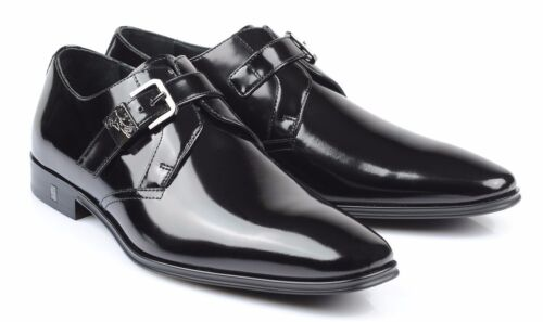 Versace Collection Patent black Leather Dress Shoes Loafers V276 new
