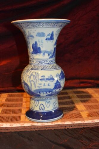 """Asian Porcelain Vase Blue and White Round Pagoda Outdoor Scene 9 3/4""""x5 7/8"""""""