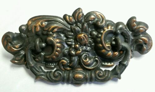 AWESOME SET OF 4 ALL ORIGINAL ANTIQUE COPPER FLASHED BRASS DRAWER PULLS HANDLES