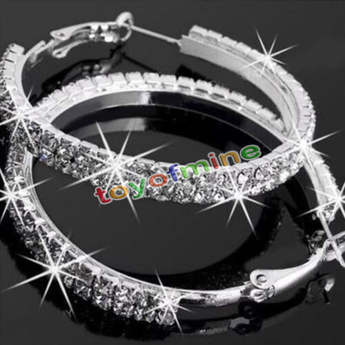 Brilliant Jewelry 14k White Gold Lady Rhinestone Crystal Fashion Hoop Earrings