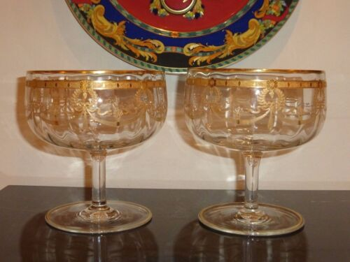 2 Exquisite Vintage French Gilded and Engraved Large Crystal Compotes