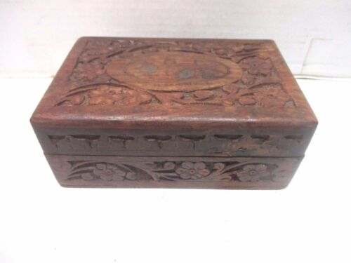 "Vintage Small Wooden Hand Carved Floral Jewelry Trinket Keepsake Box 6"" x 4"""