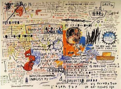 """Jean Michel Basquiat Oil Painting on Canvas Abstract decor 50 Cent Piece 24x30"""""""