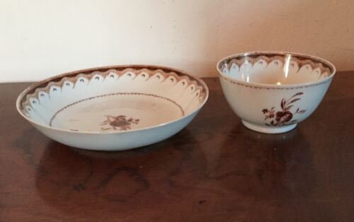 Antique Chinese Export Porcelain Tea Cup & Saucer Bowl 18th 19th c. Federal