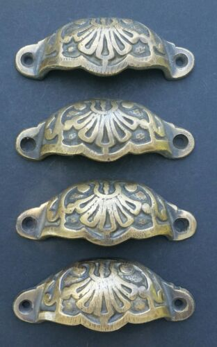"4 Apothecary Drawer Cup Bin Pulls Handles Antique Victorian Style 3 9/16""  #A2"
