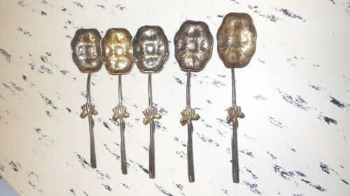 5 Antique FLORAL SHAPE BOWL SPOONS, ORNATE HANDLE, Water Lily