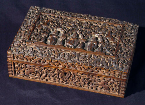 Antique carved Anglo-Indian sandal wood box, Mysore South India 19th century