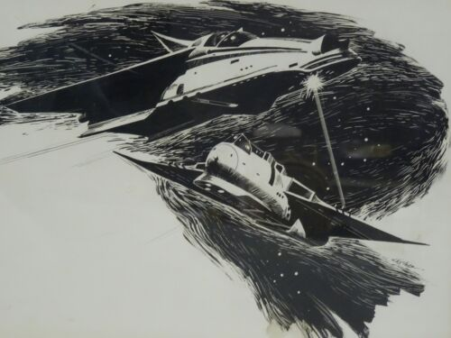RARE FRAMED SIGNED VINCENT Di FATE SCI FI  SPACESHIP INK SKETCH DRAWING