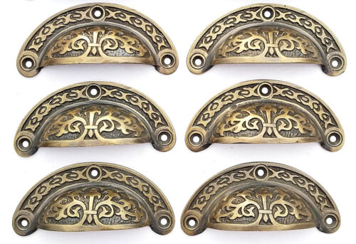 "6 antique Victorian style vintage brass apothecary bin pull handles 3 7/16"" #A5"